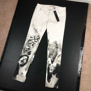 Pants - Happy People Print White Skinny Pants Medium
